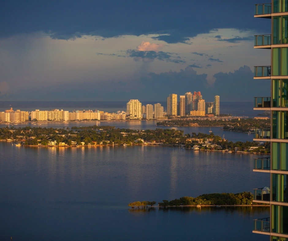 Edgewater- aerial view evening